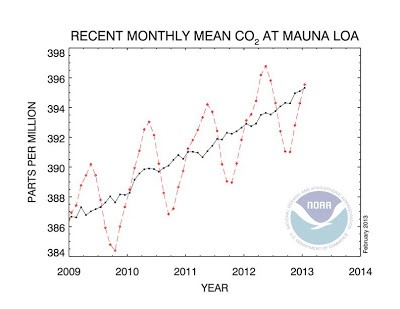 Figure 1. The concentration of carbon dioxide in the atmosphere  is rising (as measured by the National Oceanic and  Atmospheric Administration on Mauna Loa HI since 1958)